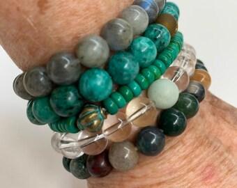 Stretchy bracelets with gemstone beads - natural stone bead mala bracelets