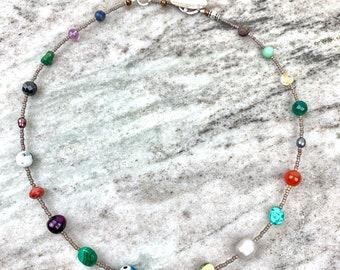 Colorful beaded choker- gemstone necklace- choker with freshwater pearls- fun summer jewelry for women- boho beaded choker