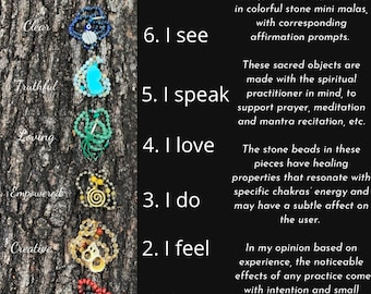Chakra balance- sacred objects for prayer and meditation, mini malas-healing stones- gemstone crystals for wellness- yoga practice