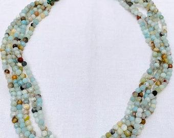 Beaded statement choker, amazonite gemstone, five strand short necklace, gemstone jewelry aesthetic, layered bead statement piece