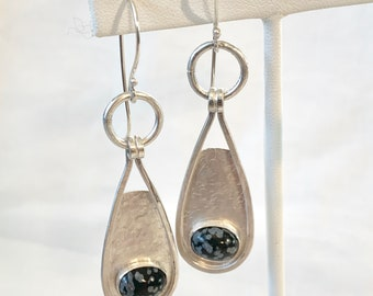 Snowflake obsidian and sterling earrings, boho style silver and gemstone dangle earrings, hippie chic jewelry