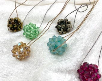 Swarovski crystal necklace - crystal bead necklace with Swarovski beads on silk cord - crystal bead bauble - jewelry for the holidays.