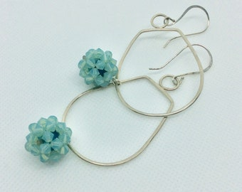 Swarovski crystal earrings  - Boho style crystal and sterling long earrings - long crystal earrings with sterling ear wires