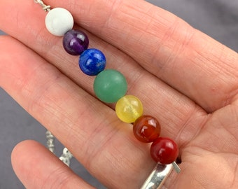 Chakra colors gemstone necklace -  rainbow colors pride necklace - lariat style with sterling silver chain and clasp - pride jewelry