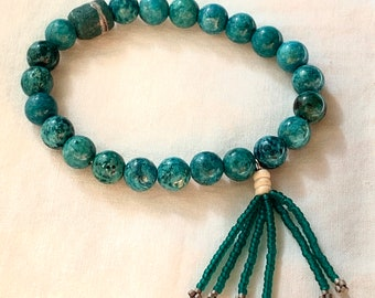 Chrysocolla bead bracelet with beaded tassel and African trade bead.