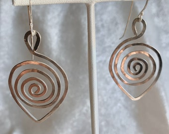 Spiral leaf-shaped earrings - spiral design leaf in silver wire with sterling silver ear wires.
