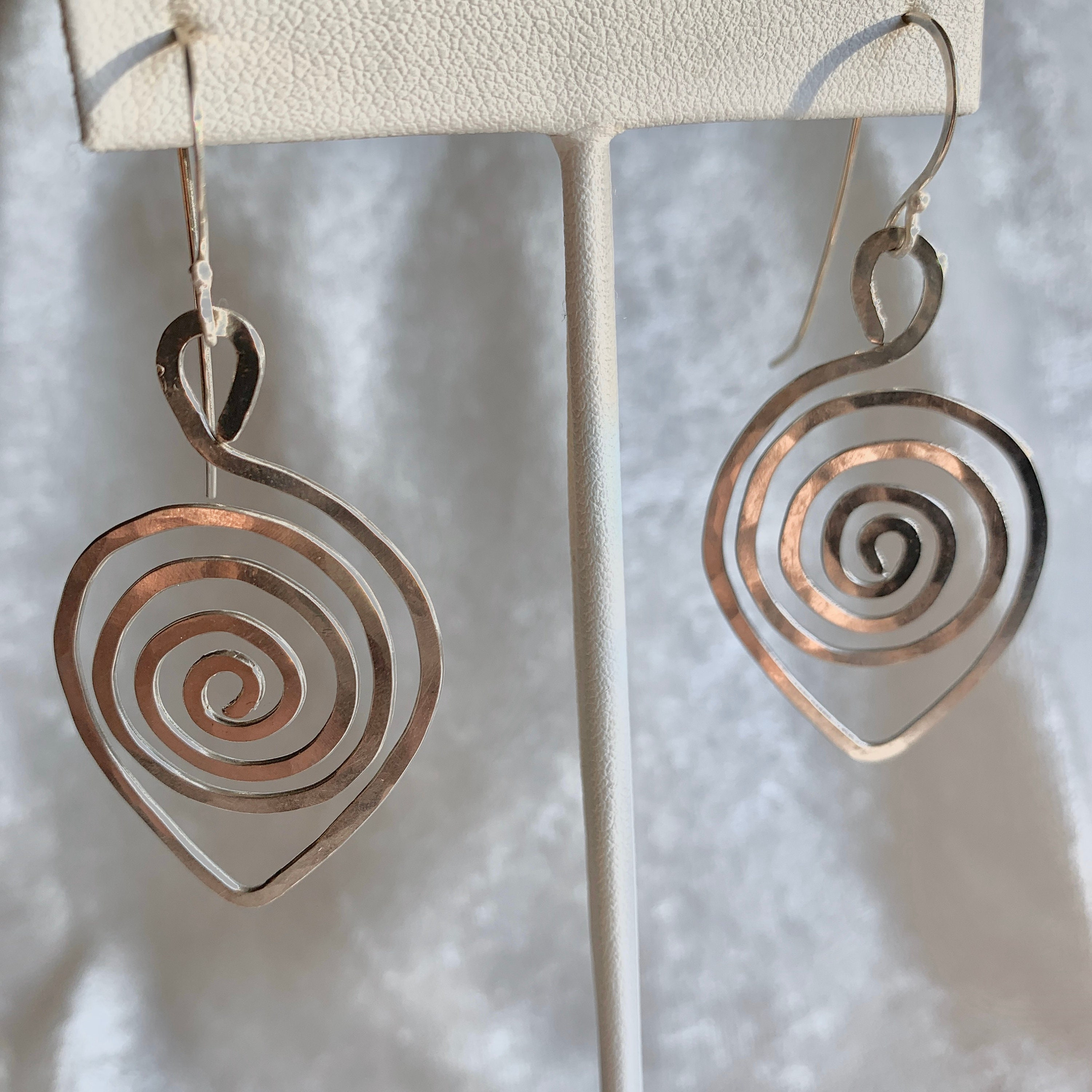 Spiral Leaf Shaped Earrings Spiral Design Leaf In Silver Wire With Sterling Silver Ear Wires