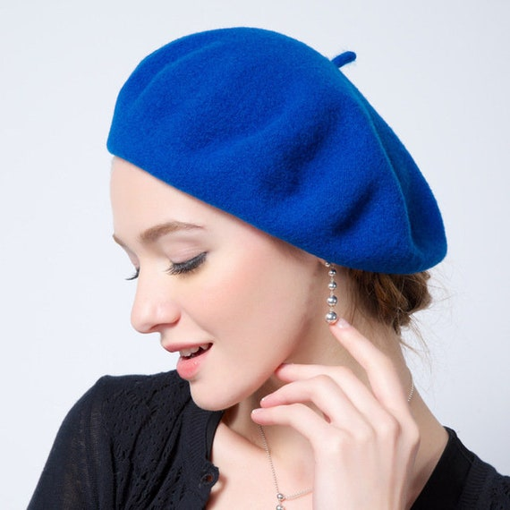 Blue Purple French Wool Beret Basque Beret Hat Winter Hat  0f7fe556e1c