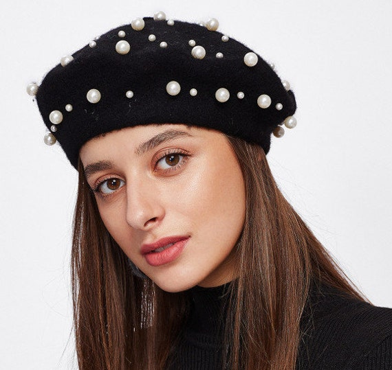 e92d1b855e5dd Black Embellished Pearl French Wool Beret Basque Beret Hat