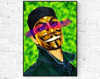 The Guy - Giclée Fine Art Print - A4 - A3 - A2 - / Shop / Wall / Home Decor / Guy Fawkes / Vendetta / Anon / Portrait / Pop Art / Poster