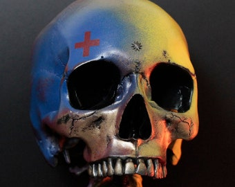 The Truth Bomber - Blue & Yellow Symbolic Life Size Human Skull Replica Bust With Display Stand / Art / Statue / Ornament / Home Decor