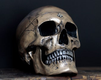 Thirdax - Distressed Gold & Silver Full Scale Life Size Realistic Human Skull Replica with Removable Jaw / Art / Ornament / Decor