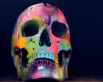 Lone Amare - Life Sized Rainbow Paint Splash Painted Human Skull / Skull Art / Ornaments / Home Decor / Graffiti / Modern Art