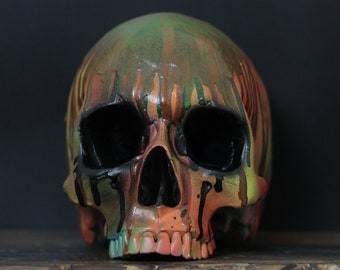 Spillz - Neon Wax Paint Drip Half Jaw Life Size Human Skull Replica / Skull Art / Ornament / Home Decor