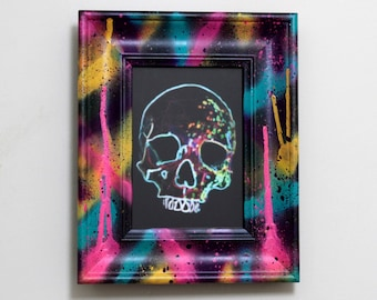 Liquet - Framed Neon Lights Paint Splatter Splash Rainbow Skull Fine Art Print - Wall Art / Graffiti / Pop Art / Home Decor / Hanging