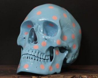 Polka Face - Baby Blue & Candy Pink Polka Dot Pop Art Human Skull Replica with Removable Jaw / Skull Art / Ornaments / Home Decor