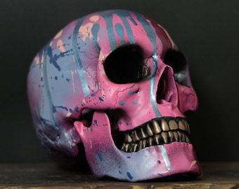 Remedium - Metallic Pink & Blue Paint Splatter Life Size Human Skull Replica with Removable Jaw / Skull Art / Ornament / Home Decor