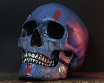 Vulcan - Distressed Red & Blue War Paint Viking Warrior Human Skull Replica Removable Jaw / Skull Art / Ornament / Home Decor