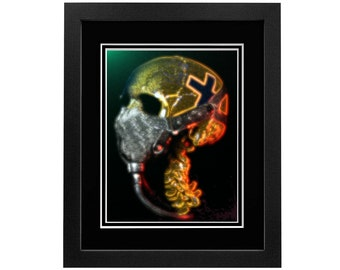 "The Truth Bomber - Fine Art Print 7 x 5"" Inches - / Tattoo Shop / Wall / Home Decor / Skull Mask / Fighter Pilot / Portrait / Neon / Framed"