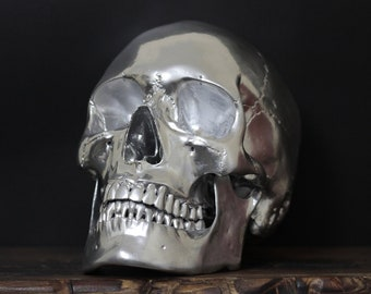 Chromatic - Solid Chrome Full Scale Life Size Realistic Human Skull Replica with Removable Jaw / Art / Ornament / Home Decor