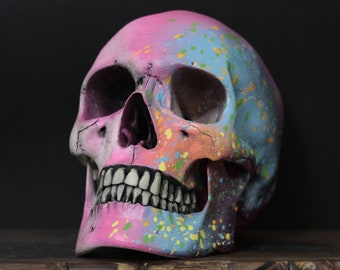 Rosea - Rainbow Paint Splash Life Size Realistic Faux Human Skull Replica with Removable Jaw / Art / Ornament / Home Decor / Painted Skulls