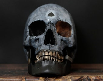 One-Eyed Ace - Distressed White & Black Life Size Realistic Human Pirate Skull Replica with Gold Detailing / Skull Art / Ornament / Decor