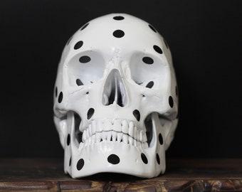 Punctum - Black & White Polka Dot Pop Art Dalmatian Human Skull Replica with Removable Jaw / Skull Art / Ornaments / Home Decor