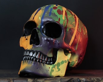 Alterlove - Multicoloured Paint Splatter Life Size Human Skull Replica with Removable Jaw / Skull Art / Ornament / Home Decor