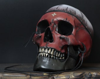 The Mind Pirate - Life Size Distressed Black & Red Realistic Human Skull Replica with Gold Teeth and Removable Jaw / Art / Ornament / Decor