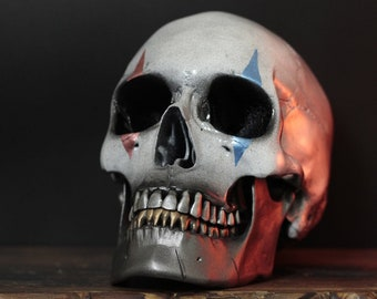 The Rookie Clown - Red White Blue Realistic Human Skull Replica with Silver & Gold Teeth / Skull Art / Ornament / Home Decor