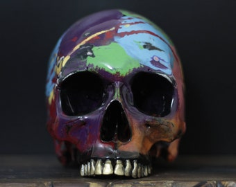 The Living Colour - Life Size Rainbow Paint Splash Painted Human Skull Replica with Golden Teeth / Skull Art / Ornament / Home Decor