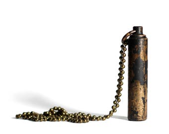 Message in a Bottle - Aged Solid Brass Vial Distressed Bullet Screw Capsule Stash Pendant with Matching Necklace