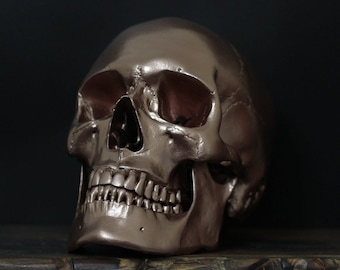 Dr. Copperpot - Life Size Bright Copper Realistic Human Skull Replica with Removable Jaw / Skull Art / Ornaments / Home Decor