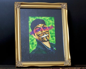 The Guy - Gold Ornate Framed Giclée Fine Art Print / Wall / Home Decor / Guy Fawkes / Vendetta / Anon / Portrait / Pop Art / Poster