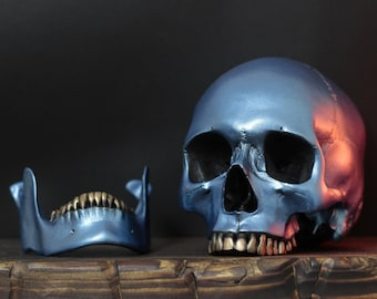 The Space Cowboy - Metallic Galaxy Blue Full Scale Life Size Human Skull Replica with Gold Teeth / Painted Skulls / Ornaments / Home Decor