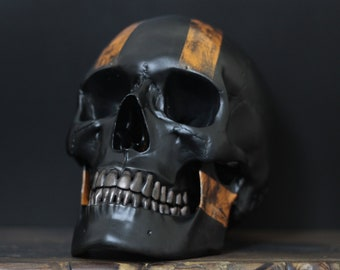 Harley D - Matte Black Full Scale Life Size Realistic Human Skull Replica with Orange Racing Stripes + Distressed Detailing