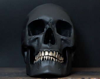 The Goldsmith / Silversmith - Matte Black Life Size Realistic Human Skull Replica with Gold or Silver Teeth / Art / Ornament / Home Decor