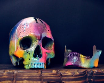 Lone Amare - Life Sized Glossy Rainbow Paint Splash Painted Human Skull / Skull Art / Ornaments / Home Decor / Graffiti / Modern Art