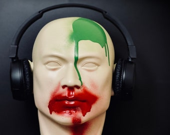 Don't Speak - Life Size Human Head Statue Bust for Headphone Display / Plinth / Stand / Ornament / Home Decor / Face Paint / Clown