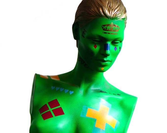 Featured listing image: Life Size Pop Art Neon Graffiti Style Hand Painted Distressed Female Mannequin Torso Statue / Contemporary / Original Artwork / Street Decor