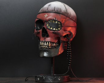 The Mind Pirate (limited edition) - Life Size Human Skull Bust With Metal Display Stand Plinth / Skull Art / Statue / Ornament / Home Decor