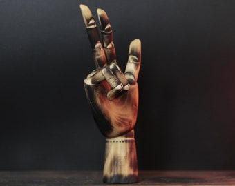 "High Five - 12"" Distressed Burnt Beach Wood Human Posable Hand Model Mannequin / Statue / Home Decor / Desk / Table / Jewelry Display Stand"