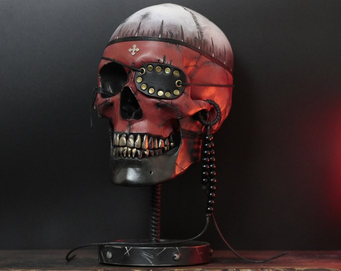 Featured listing image: The Mind Pirate (limited edition) - Life Size Human Skull Bust With Metal Display Stand Plinth / Skull Art / Statue / Ornament / Home Decor