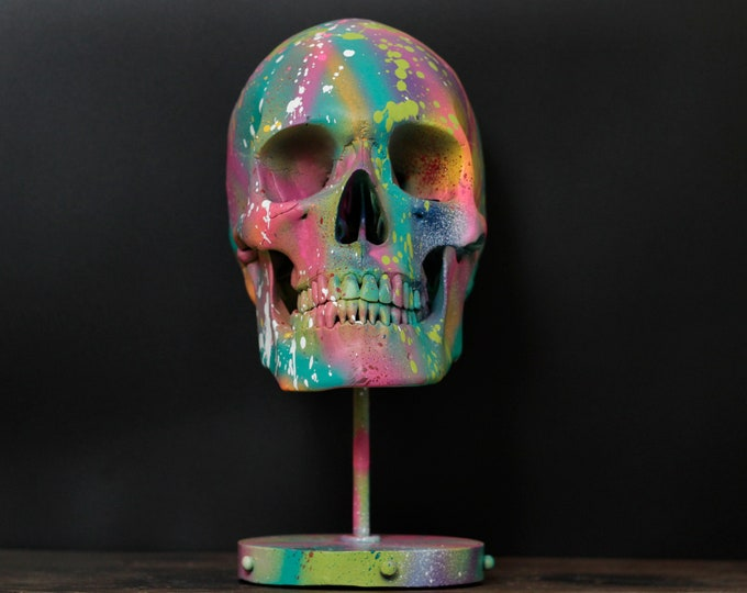 Featured listing image: Lux Vita - Life Sized Matte Rainbow Paint Splatter Human Skull Replica Bust With Display Stand / Art / Decor / Ornament / Modern / Graffiti