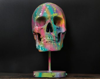 Lux Vita - Life Sized Matte Rainbow Paint Splatter Human Skull Replica Bust With Display Stand / Art / Decor / Ornament / Modern / Graffiti