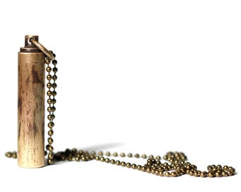 Message in a Bottle - Brushed Solid Brass Vial Distressed Bullet Screw Capsule Stash Pendant with matching Necklace