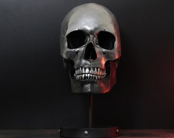 The Chrome Heart - Distressed Black & Silver Life Size Skull Bust with Metal Display Stand Plinth / Skull Art /  Statue / Ornaments / Decor