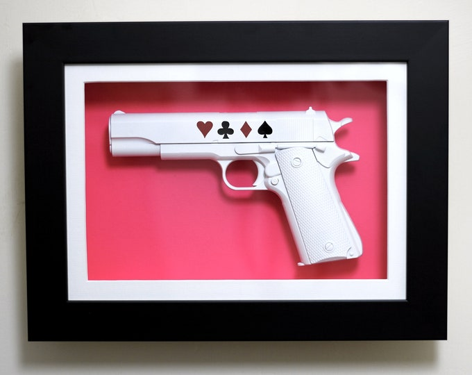 Featured listing image: Love or Lose - Framed 3D Wall Art Mounted 1911 Replica Pistol Gun Ornament / Home Decor / Wall Hanging / Modern Art / Pop Art