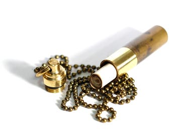 High Contrast Polished Brass Pill Box Vial Bullet Capsule Stash Pendant with matching Necklace
