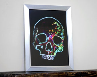"Liquet - 14 x 10"" Framed Neon Lights Paint Splatter Splash Rainbow Skull Fine Art Print - Wall Art / Graffiti / Pop Art / Hanging"